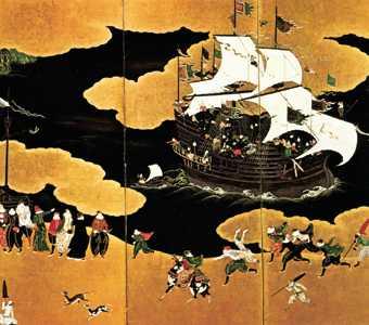 Неизвестный художник. Прибытие португальского корабля.Фрагмент. Конец XVI - начало XVII в.