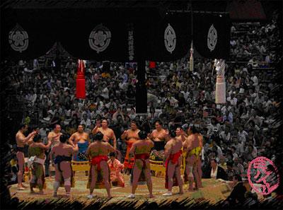 Сумо Нагоя басё 17-го года эры Хейсей, церемония выхода борцов на арену (дохё-ири)
